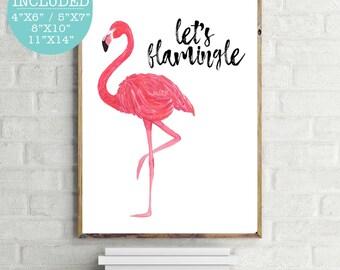 Let's Flamingle, Flamingo Print, Pink Flamingo Print, Pink Wall Art, Modern Wall Art, Trending Wall Print, Printable Flamingo, Watercolor