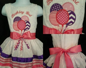 Girls Birthday Dress with  Balloons