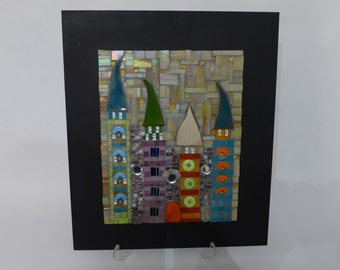 Mosaic with ceramic towers