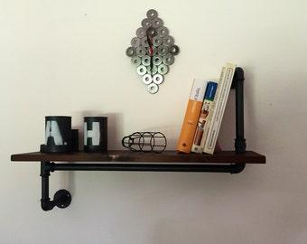 Industrial Vintage style shelf in plumbing pipes.