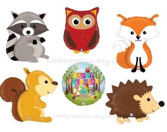 Woodland Balloons Raccoon, Fox, Hedgehog, Owl, Squirrel or Happy Birthday