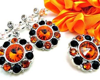 Wholesale Orange Acrylic Rhinestone Buttons W/ Black and Orange Surrounding Rhinestones DIY Dress Buttons Craft Buttons 25mm 2997 40 1 40