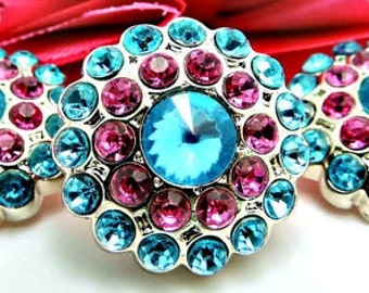 TURQUOISE & HOT PINK Rhinestone Buttons Acrylic Rhinestone Buttons Garment Buttons Coat Buttons Sewing Buttons 24mm 3190 25 24 25R