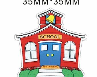 School House Back To School Planar Resin Flatbacks Flat Back Scrapbooking Crafts Making Embellishments DIY