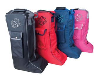 Sale while stocks last Custom Embroidered Long Riding Boot bag with Monogram - Dressage - English - Eventing - Perfect for Jumpers and shows