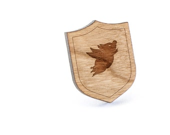 Flying Pig Lapel Pin, Wooden Pin, Wooden Lapel, Gift For Him or Her, Wedding Gifts, Groomsman Gifts, and Personalized