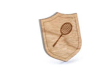 Badminton Racket Lapel Pin, Wooden Pin, Wooden Lapel, Gift For Him or Her, Wedding Gifts, Groomsman Gifts, and Personalized