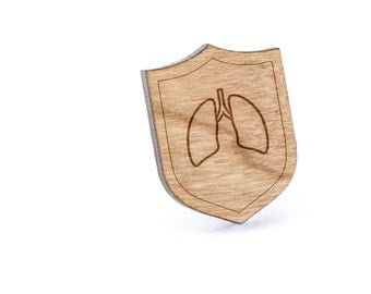 Lungs Lapel Pin, Wooden Pin, Wooden Lapel, Gift For Him or Her, Wedding Gifts, Groomsman Gifts, and Personalized