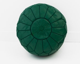 Set of 2 Leather Poufs, Forest Green