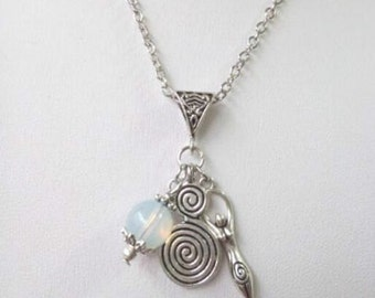 Wiccan Necklace With Spiral Of Life, Fertility Goddess And Opal Charms Pendant.