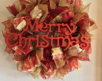 Holiday Wreath-Merry Christmas Wreath-Christmas Wreath-Mesh Wreath