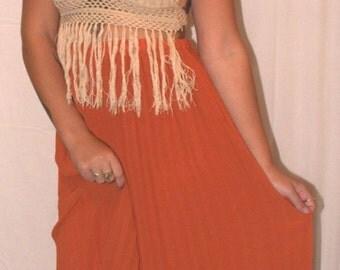SALE - WOMENS | Bohemian earthy orange skirt | Size S - SALE