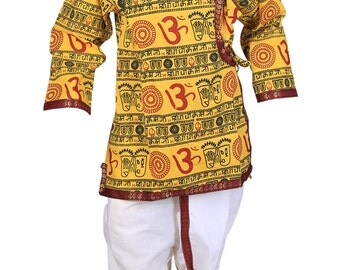 Focil  indian yellow om printed  kurta and dhoti pant set for kids