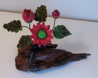 Red Hand Made Porcelain Lone Daisy