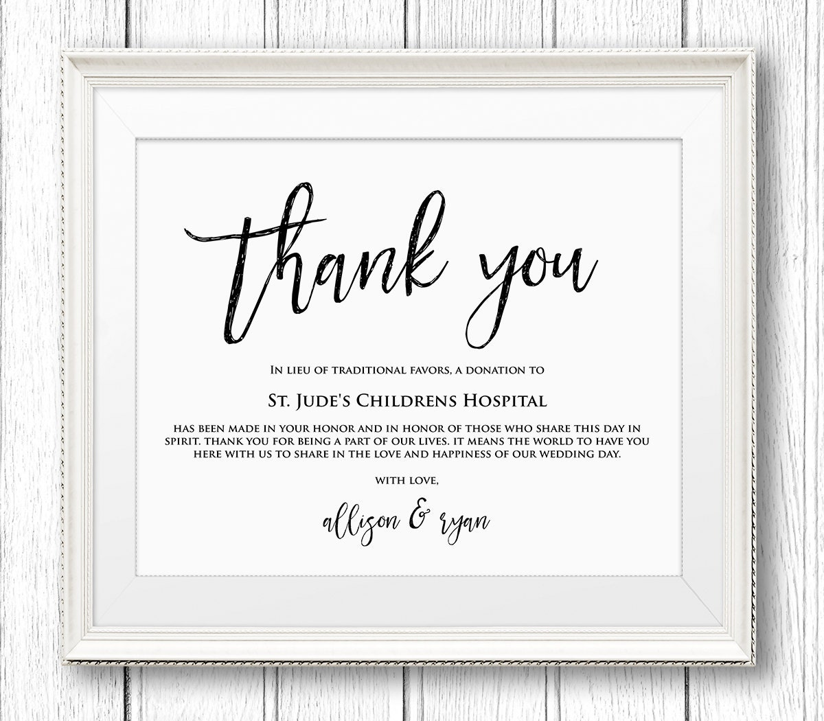 lieu of wedding favors sign thank you charity printable sign. Black Bedroom Furniture Sets. Home Design Ideas