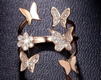 Butterfly Ring 18K Rose or white Gold Plated