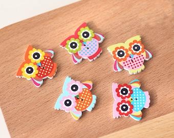 15 pieces 27*32mm Random Color Wooden Buttons , Owl pattren buttons, Round Coat Buttons,Buttons for child (200-27)