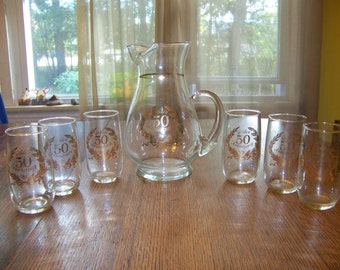 Vintage W. Virginia Glass co pitcher & glass set 50 th Golden Anniversary nice! Mid-century Blendo set