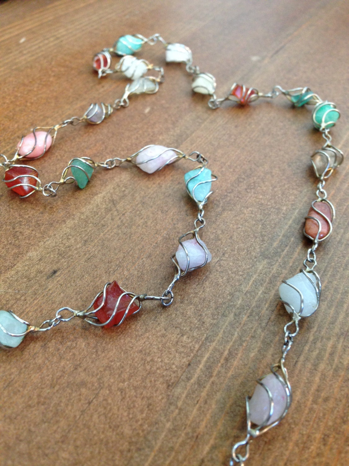 multi gemstone necklace wire wrapped