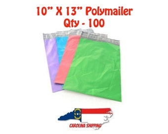 """Colorful Polymailer, 100 Polymailers, Poly Mailer, Mailer, 10"""" X 13"""" Polymailer, Self seal strip, Colors, Polymailer"""