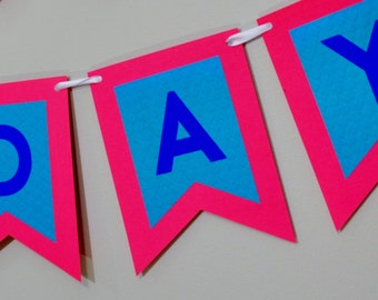 Happy Birthday Banner, Boy First Birthday Pennant, Red and Blue Shown - Other Colors Available - Add Your Name - Customizable
