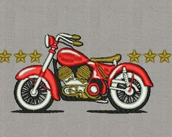 Vintage motorcycle machine embroidery designs