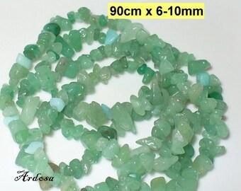 1 CTRL. 90cm Aventurine splitter green, drilled, 6-10 mm (724.3)