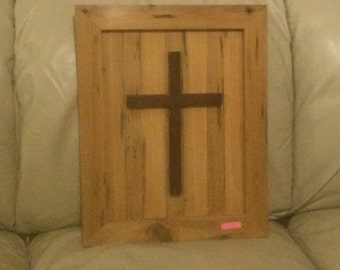 Solid Sinker Cypress Plaque with Mahogany Crucifix