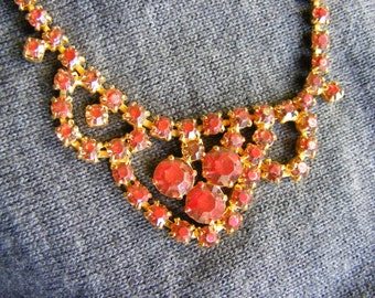 Vintage red rhinestone necklace