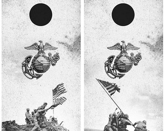 US Marines Iwo Jima Flag Raising Cornhole Board Wrap