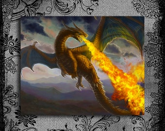 Fire-spitting Dragon Fractal Fantasy Print Wall Decor Printable Digital Art Draco Print Mystical Creature Instant Download