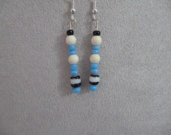 Blue, Black and White Dangle Earrings