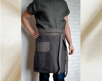 Linen apron, linen kitchen apron, linen cafe apron, linen woman apron,kitchen linens, pinafore, half apron