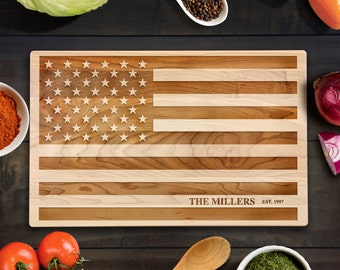 Customized American Flag Cutting Board USA Flag Wood Chopping Block Rustic Home Decor Wedding Housewarming Gift July 4th Independence Day