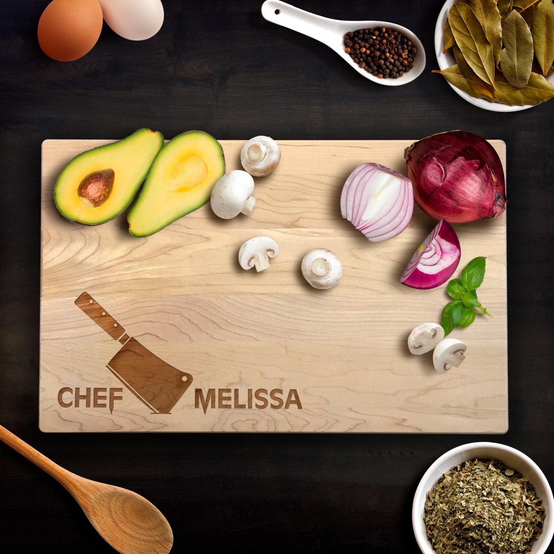 Kitchen Knives Wedding Gift : Cutting Board Wedding Gift Chefs Knife Chef Name Kitchen Birthday Gift ...