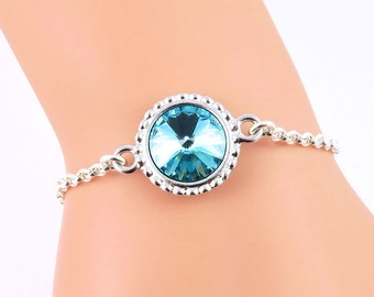 Turquoise Bracelet, December Birthstone Bracelet, Blue Crystal Bracelet, Turquoise Jewelry, Swarovski Crystal Birthstones, December Birthday