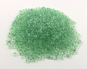 Tiny Clear Beads with Colored Centers - Green- 2.5x2mm