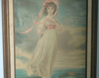 Vintage 1920's Pinkie Girl Numbered Litho