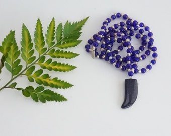 Gemstone Necklace - Blue Sandstone and Dark Blue bead