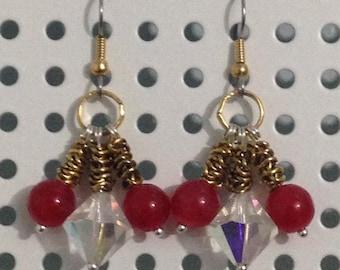 Crystal, Red Jade earrings