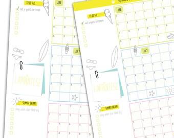 SUMMER PLAN printable calendar, A3