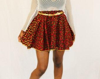 African Print Skater Skirt (Spiral)