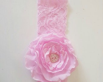 Fabric and lace flower headband