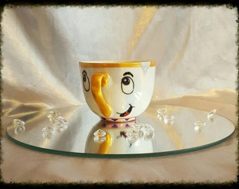 Hand painted Chip beauty and the beast tea cup