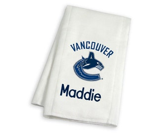Personalized Vancouver Canucks Baby Burp Cloth