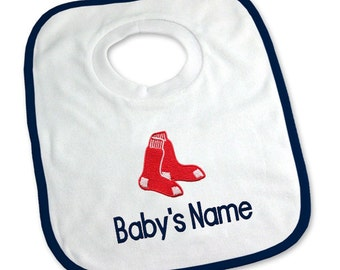 Personalized Boston Red Sox Baby Bib