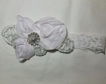 White Imperial Lace Chiffon Flower Baby Girl Headband