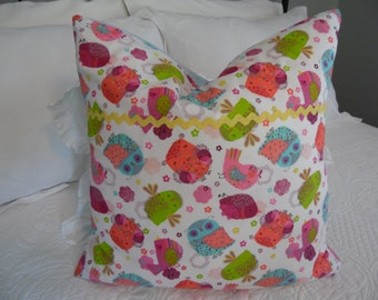 Pillow cover, little girls birdie pillow cover Product ID#P053