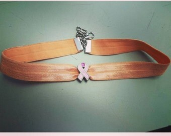 Breast cancer choker, breast cancer awareness, pink choker, peach choker, breast cancer ribbon, cancer awareness, breast cancer choker