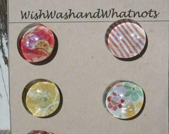 Glass Thumbtacks- set of 6